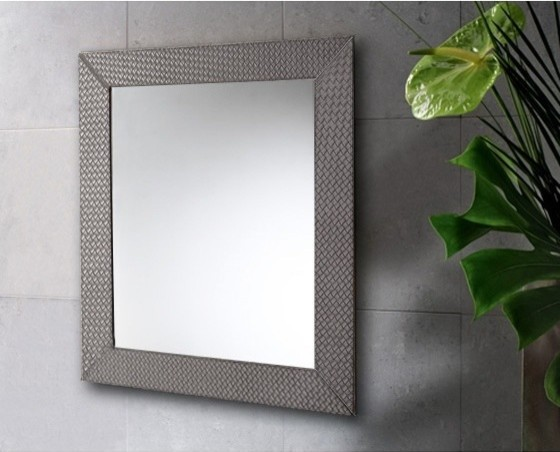 Vertical Or Horizontal Mirror With Old Silver Faux Leather
