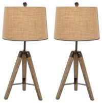 Weathered Wood Tripod Table Lamps, Set of 2