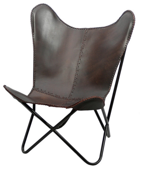 Brown Leather Butterfly Chair  Midcentury  Living Room