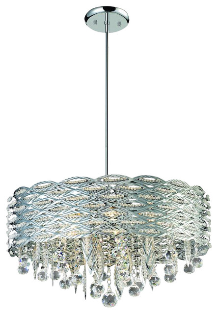 Six Light Chrome Drum Shade Crystal Chandelier