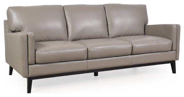 osman dark gray full leather sofa