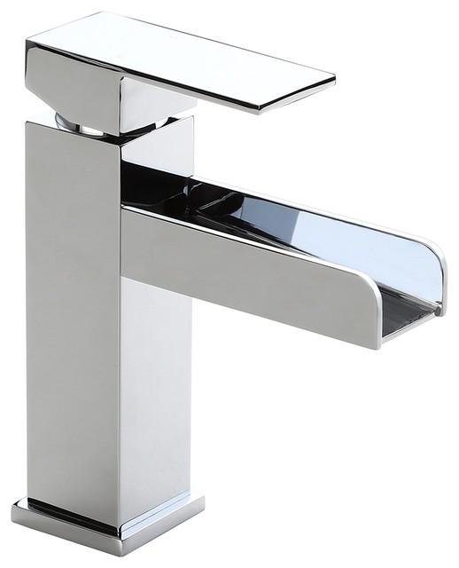 modern single hole waterfall bathroom sink faucet solid brass chrome