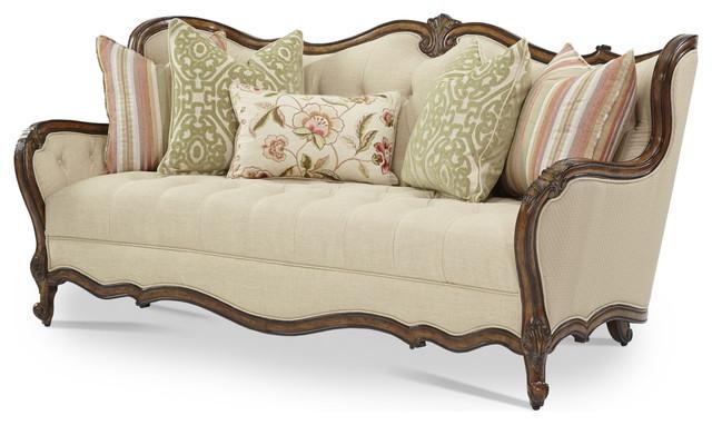 emma tufted sofa 8 way hand tied brands aico lavelle melange wood trim warm brown 54815 bisqu 34