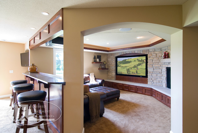 decorating a living room with fireplace and tv paint colors for kitchen basement wall - traditional home theater ...