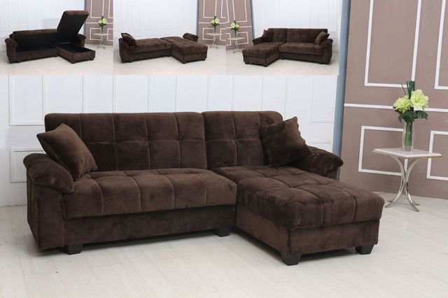 Modern Tufted Brown Microfiber Sectional Sofa Storage Couch Chaise Bed : chaise storage - Sectionals, Sofas & Couches