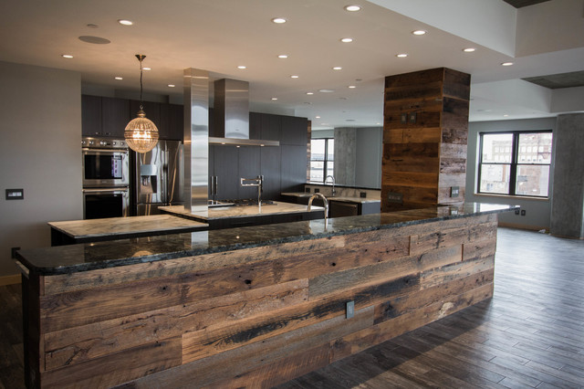 Downtown Condo Industrial Contemporary Contemporary Kitchen