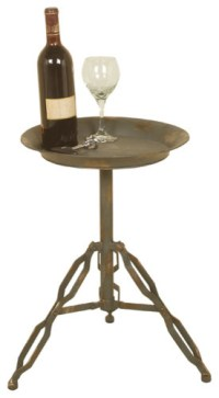 Distressed Metal Accent Industrial Look Side Table ...