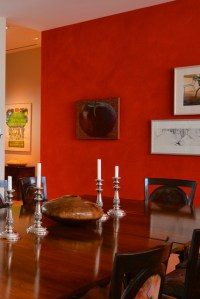 Red Accent Wall in Dining Room - Traditional - Dining Room ...