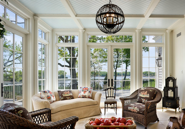 living room design chocolate brown couch specials shingle style waterfront - victorian sunroom new york ...