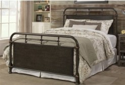 Hillsdale Logan Queen Metal Spindle Panel Bed, Rubbed Black