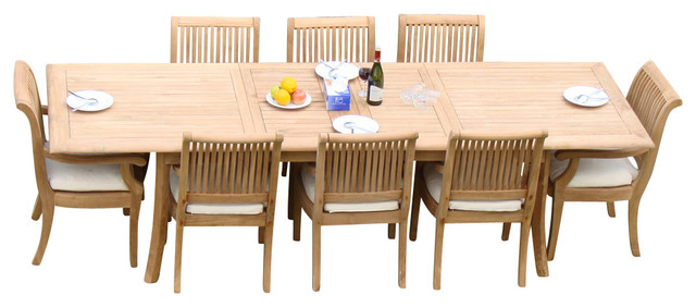 "9-Piece Teak Dining Set, 117"" Extension Rectangle Table, 8"