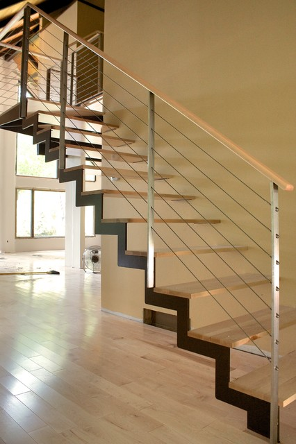 ZIG STAIR  Modern  Staircase  chicago  by Iron  Wire LLC