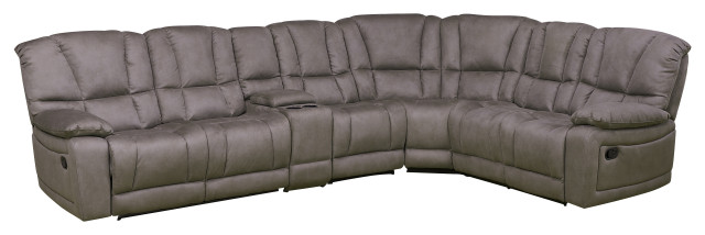 betsy furniture microfiber reclining sectional living room set grey