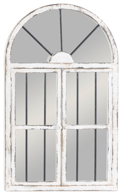 distressed white wood arched window wall mirror