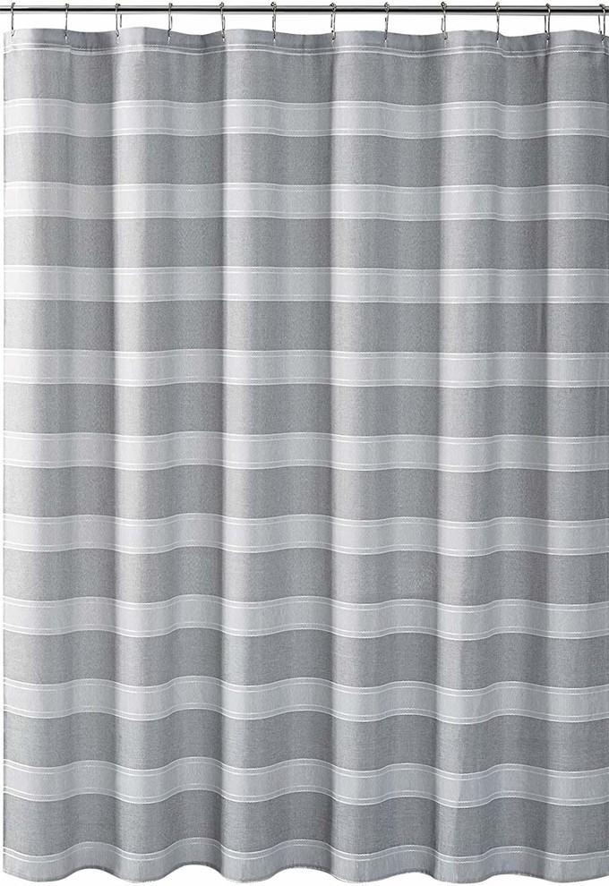 wide stripe design semi sheer white
