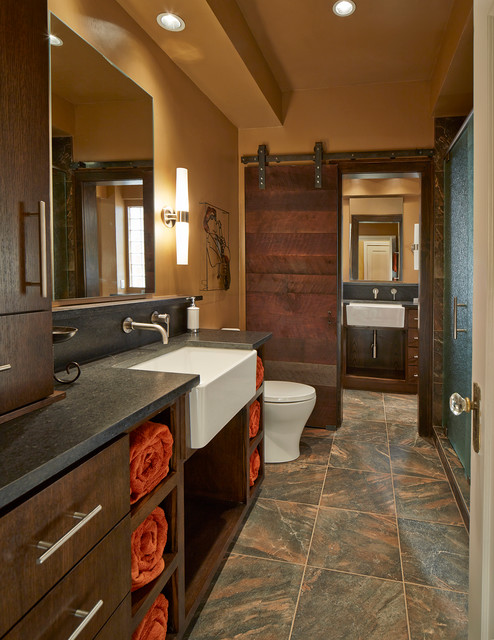 Small His/Hers Bathroom contemporary-bathroom