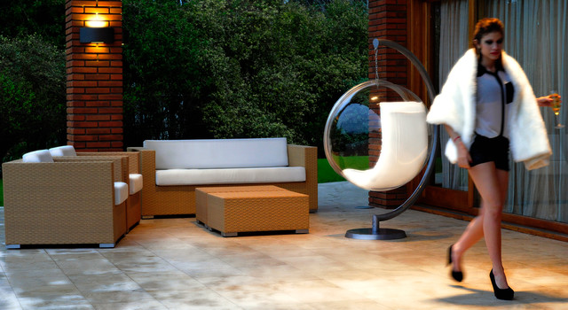 beach style kitchen table and chairs modloft dining chair bubble - modern patio other by makom design