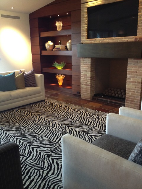Kenya Zebra Area Rug Contemporary Living Room Orange