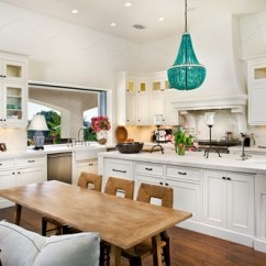 Kitchen Chandeliers Wood And Glass Cabinets Choosing For A Traditional I Love This Farmhouse With Two Large Ring Over The Island Space