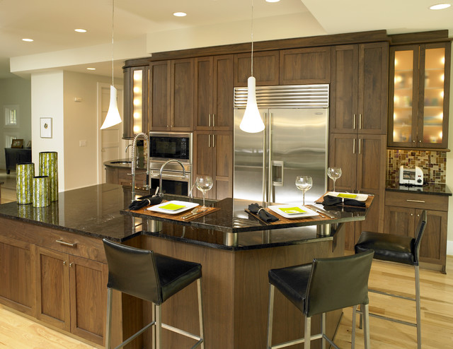 Walnut Kitchen Contemporary Kitchen Charlotte By E3 Cabinets