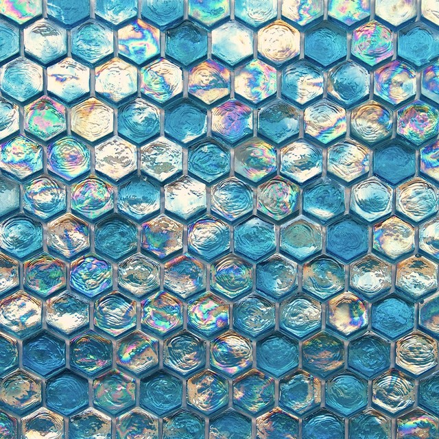 12 x12 iridescent hexagon glass mosaic tile turquoise blue