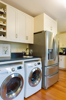 Front Loading Washer Dryer With A Counter Above