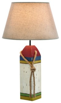 Cylindrical Shaped Wooden Buoy Table Lamp - Beach Style ...
