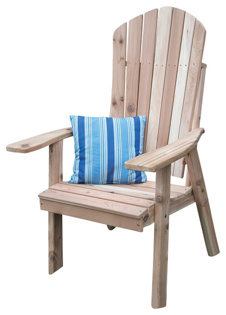 Cedar Upright Adirondack Chair Cedar Stain  Beach Style