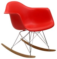 Plastic Molded Rocking Chair Red - Midcentury - Rocking ...