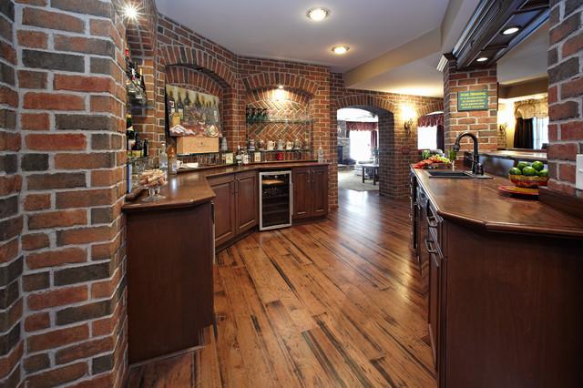 old world style living room furniture design the finished basement bar - traditional detroit ...