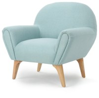 Valby Mid Century Modern Upholstered Teal Armchair ...