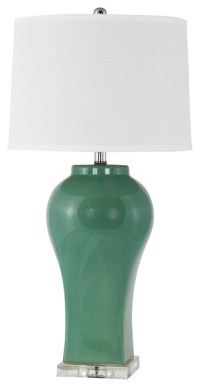 Misty Teal Green Ceramic Table Lamp - Contemporary - Table ...