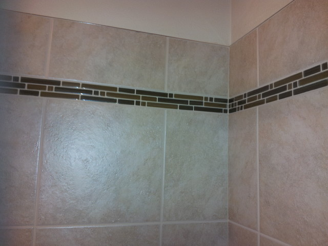 Shower Accent Tile With Metal Edging Bathroom Seattle