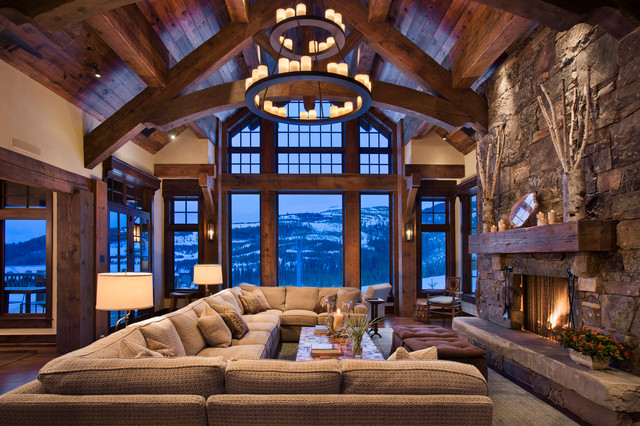 Example Of A Mountain Style Living Room Design In Other With Standard Fireplace And
