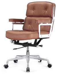 Italian Leather Office Chair, Brown - Contemporary ...