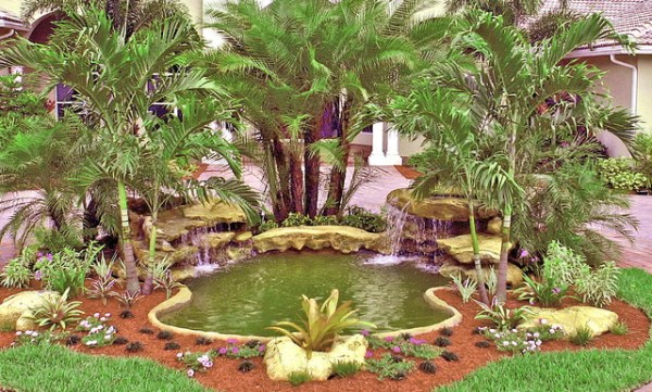 front entrance waterfall - tropical