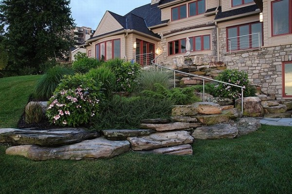 hillside planting & natural stone