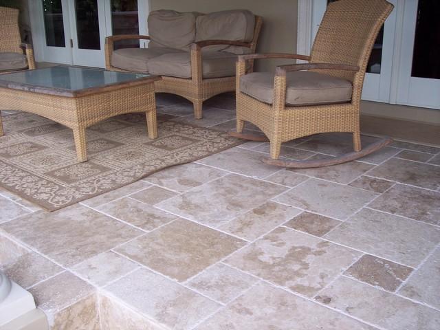 Roman Blend Travertine Tiles Traditional Patio Tampa