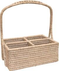 Rectangular Condiment Basket With Handle, White - Beach ...