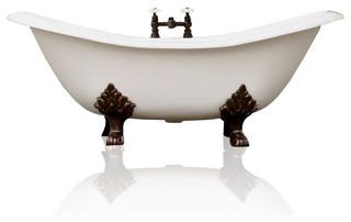 White Antique Style Cast Iron Porcelain Double Slipper Clawfoot Bathtub 6'