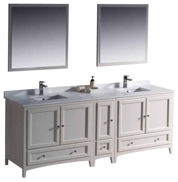 84 Inch Double Sink Bathroom Vanity in Antique White