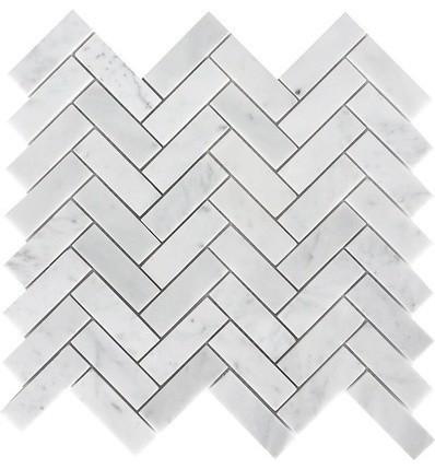 carrara herringbone pattern polished tile white 10 sq ft 1x3