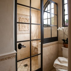Old World Living Room Design Ideas Solid Wood Tables Wrought Iron Shower Door - Farmhouse Bathroom Los ...