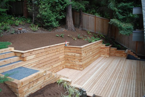 timber walls and steps