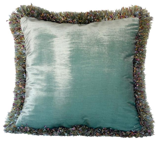 Silk Velvet Decorative Throw Pillow With Fringe