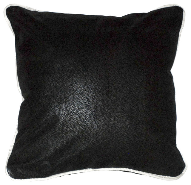 Black White Faux Leather Piping Pillows For Sofa Couch Or