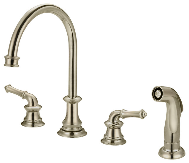 Two Handle Kitchen Widespread Faucet With Spray, Polished