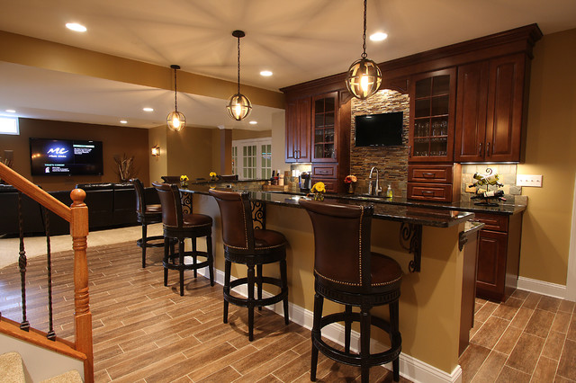 Basement Wet Bar  Traditional  Basement  DC Metro  by NVS Remodeling  Design