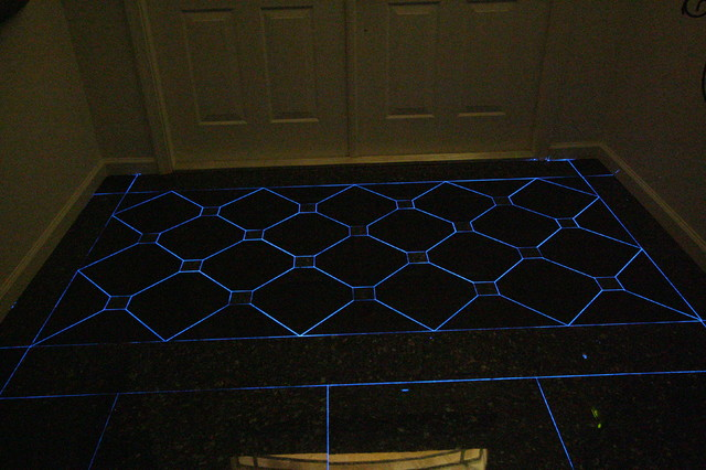 Front Entry Foyer with Glow in the Dark Grout  Eclectic