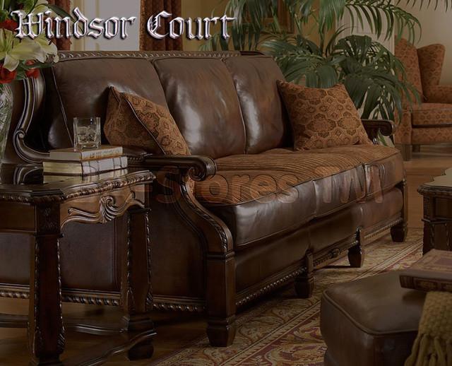 """""""Michael Amini"""" Wood Trim Leather/Fabric Sofa"""
